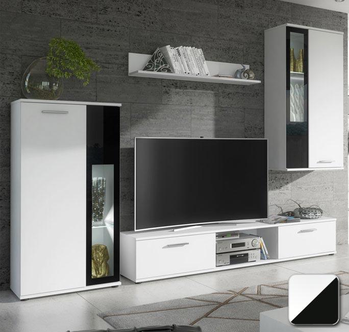Mobile da soggiorno Atila bianco matt e vetro nero o sonoma