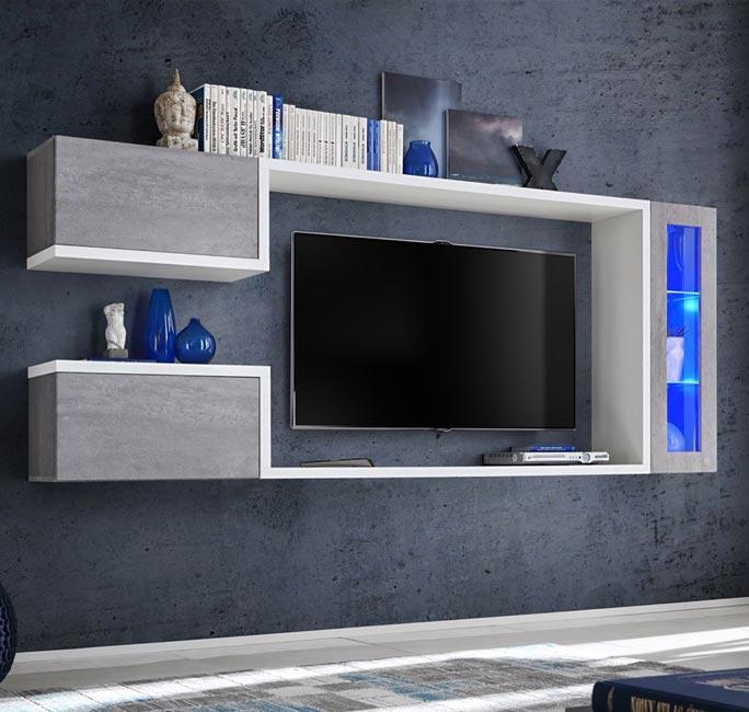 Mobile da soggiorno modello Urko colore bianco e grigio cemento (2,3m)