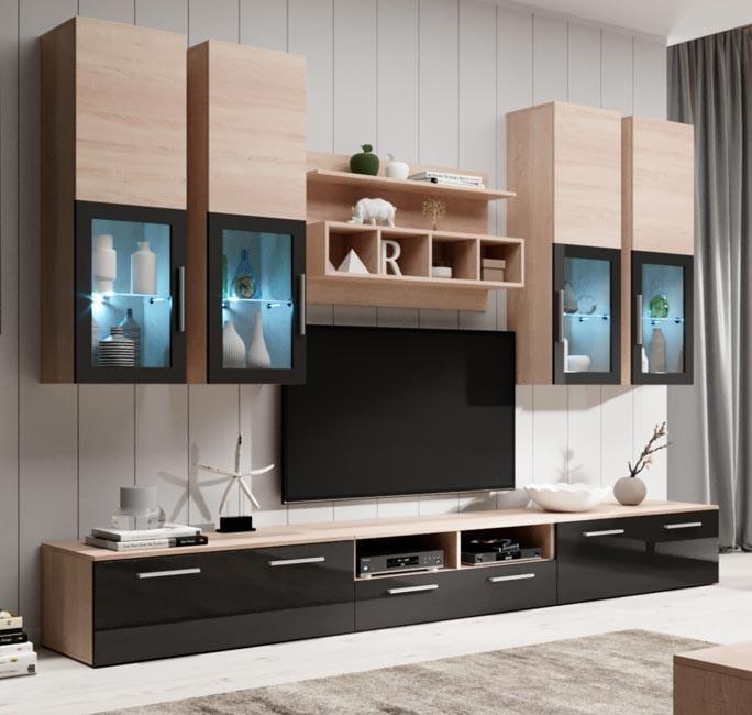 Mobile soggiorno modello acosta en colore sonoma e nero 3 m for Mobili spa