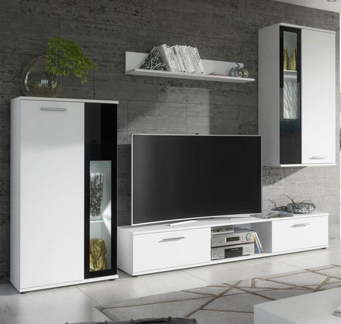 Mobile da soggiorno Atila bianco matt e vetro nero (2,35m)