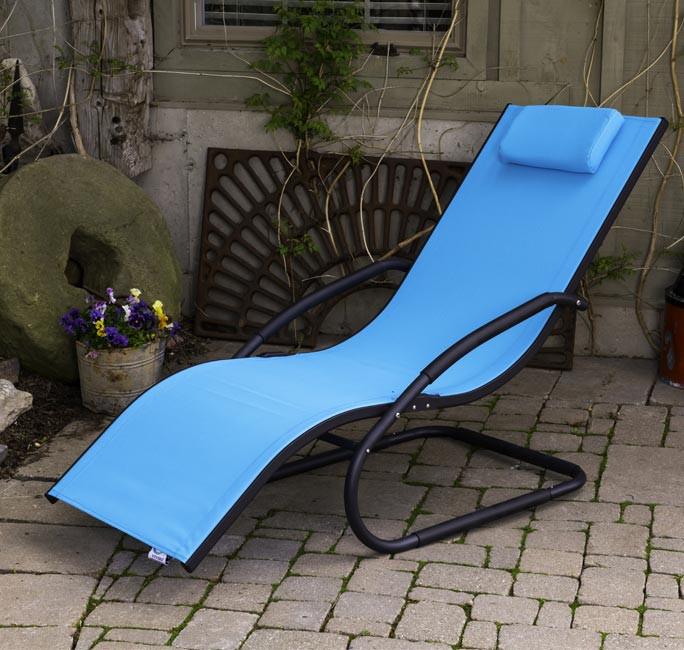 Tumbona wave Lounger - Aluminum - Ocean Blue on Matte Grey