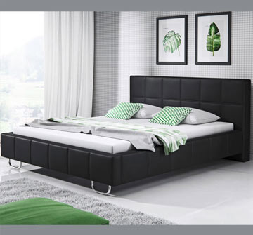 Letto di design Sofía in colore nero (150x190cm)