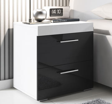 Comodino di design Ciro bianco e nero