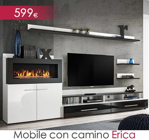 Mobile da soggiorno con camino Erica bianco e nero (2,90m)