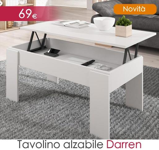 Tavolino alzabile da salotto Darren in bianco