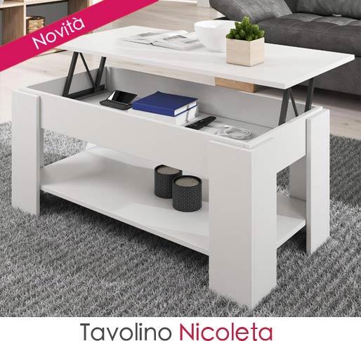 Tavolino alzabile da salotto Nicoleta in bianco